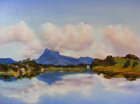 Painting entitled View from the Tweed River to Mount Warning