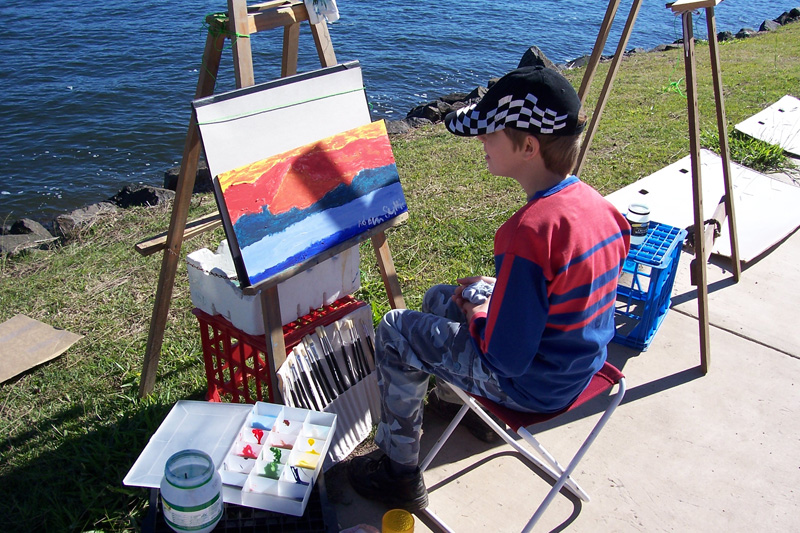Painting beside the river at Barb Suttie's painting workshop.