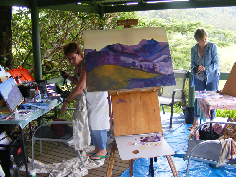 Painting on the verandah at Barb Suttie's workshop.